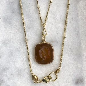 Smoky Quartz Roman Soldier 14K Gold Necklace